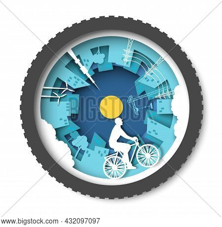 Eco Friendly City With Buildings, Windmills And Young Man Riding Bicycle, Vector Paper Cut Illustrat