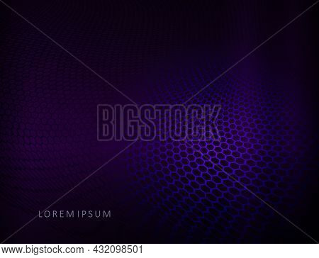 Dark Background With Blue Gradient, Mesh Abstract Waves.