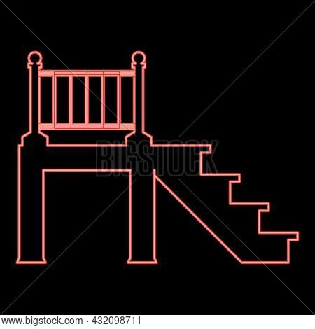 Neon Porch Red Color Vector Illustration Flat Style Light Image