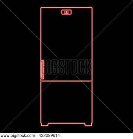 Neon Refrigerator Red Color Vector Illustration Flat Style Light Image