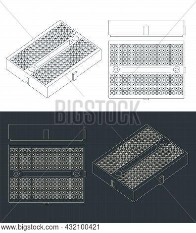 Stylized Vector Illustration Of Blueprints Of Breadboard Mini Format