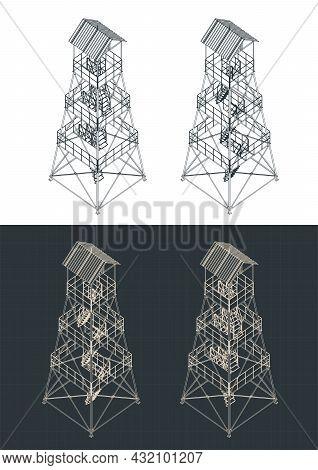 Guard Tower Isometric Blueprints