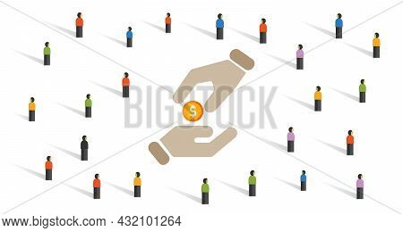 Philanthropy Icon Government Subsidy Stimulus Donation For Poor Poverty Public Charity Hand Giving C