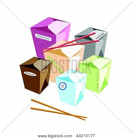 Food Boxs And Chopsticks On White Background