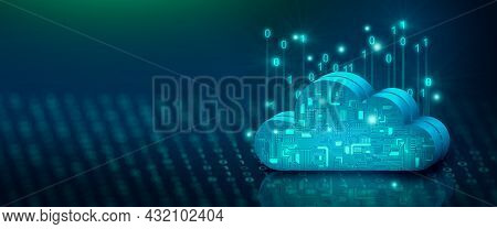 Cloud Computing Technology Internet On Binary Code With Abstract Background. Cloud Service, Cloud St