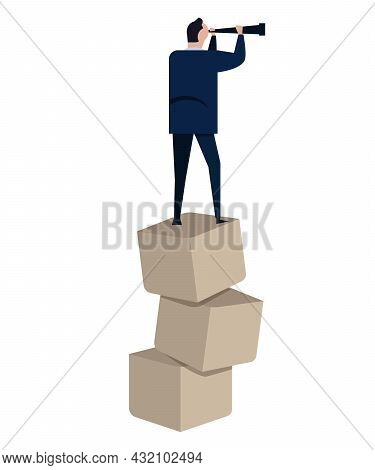Visionary Leader Standing Above Stacked Boxed Concept Of Risky High Volatile Company Navigate Foreca