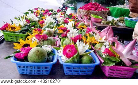 Flower And Bel On Basket Offerings For Hindu Religious Ceremony Or Shivratri Festival In India