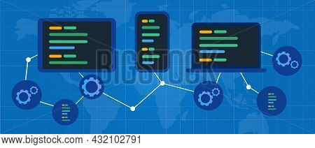 Cross-platform Multi Device Software Web Connected Global Adaptive Application Connected Online