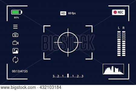 Viewfinder Vector Template- Record Frame For Camera Isolated On Black Background. Night Camera Milit