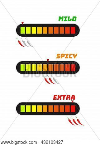 Chilli Pepper Level Scale Vector Label Set - Mild, Medium, Hot, Extra Isolated On Background. Pepper