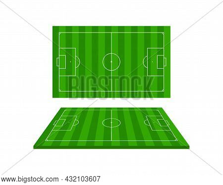 Football 3d Stadium. Soccer Field. Green Football Arena With Perspective View. Isometric Court For S