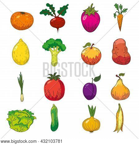 Set Of Fruits And Vegetables Illustrations. Hand Drawing Colorful Doodles Icon, Organic Farm Product