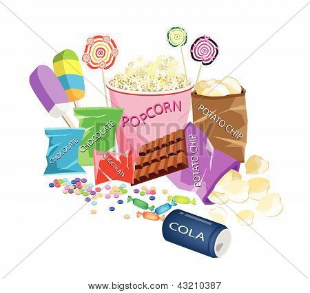 An Illustration Collection Of Various Cinema Foods