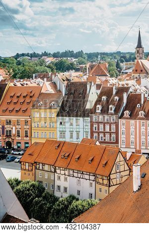 Cheb, Czech Republic. Town In Western Bohemia On River Ohre.aerial Panoramic View Of Market Place Wi