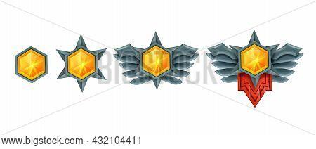Victory Game Gem Crystal Set, Level Up Diamond Winner Badge, Ui Treasure Jewel Achievement On White.