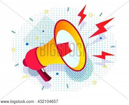 Megaphone, Bullhorn, Loadspeaker Realistic Style On Half Tone Background. News, Propaganda, Media, A