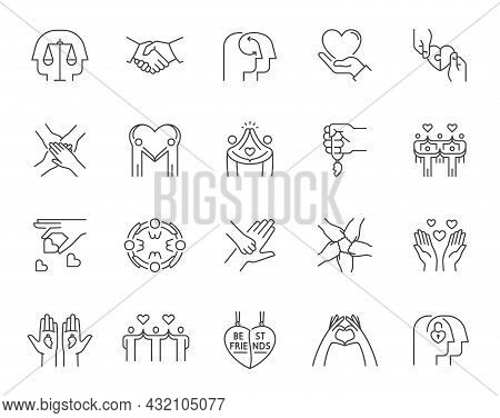 Set Of Friendship And Love Related Line Icons. Contains Such Icons As Mutual Understanding, Harmony,