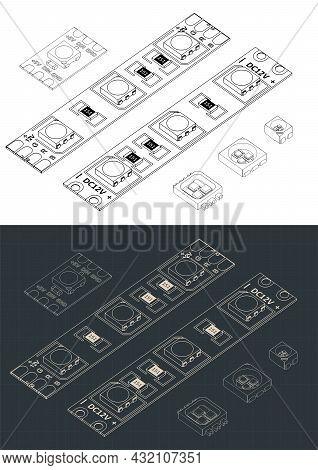 Led Strip Light Isometric Blueprints