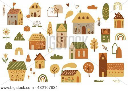 Fall City. Autumn City. Cute Autumn House Kit. Cottage Houses Isilated Graphic Elements. Childish Ho