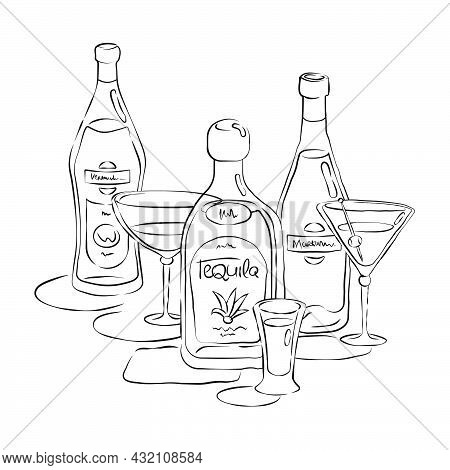 Bottle And Glass Vermouth Tequila Martini Together In Hand Drawn Style. Beverage Outline Icon. Resta