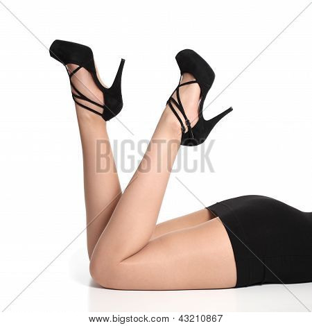 Beautiful And Fashion Woman Legs Up With Heels And Tights