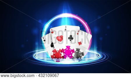 Shine Neon Casino Playing Cards With Poker Chips And Neon Digital Hologram In Cylindrical Shape With