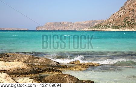 The Confluence Of The Waters Of The Three Seas In The Balos Bay On The Island Of Crete In Greece