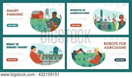 Set Of Vector Illustrations Of Smart Farming. Collection Of Web Backgrounds About Robots In Agricult