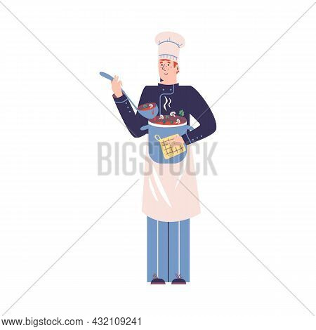 Smiling Young Guy Is Chef With Pot Of Soup And Ladle In His Hands. Vector Flat Illustration Of Chara