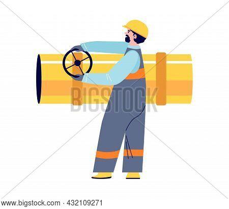 Employee In Helmet And Uniform Of Oil Refinery Turns Valve On Large Pipe. Vector Flat Cartoon Illust
