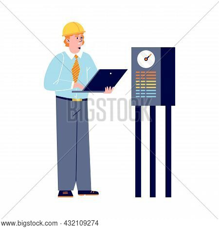 Vector Flat Cartoon Illustration Of Character Of Engineer At Oil Refinery Stands With Laptop In His