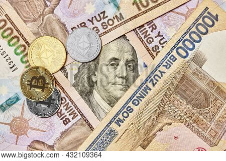 Cryptocurrency Coin, Us Dollar And Uzbek Sums. Bitcoin And Ethereum, Us Dollar And Uzbek Sum Banknot