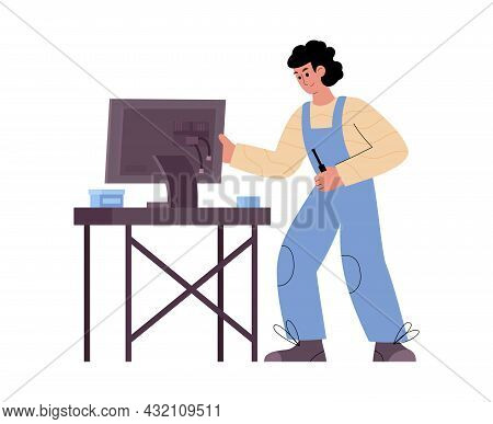 Male Professional Technician Working At Computer Service Repair The Monitor.