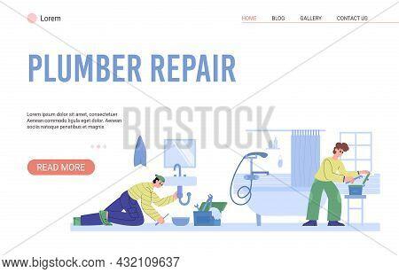 Plumber Repair Services Website With Workmen Fix Plumbing Vector Illustration.