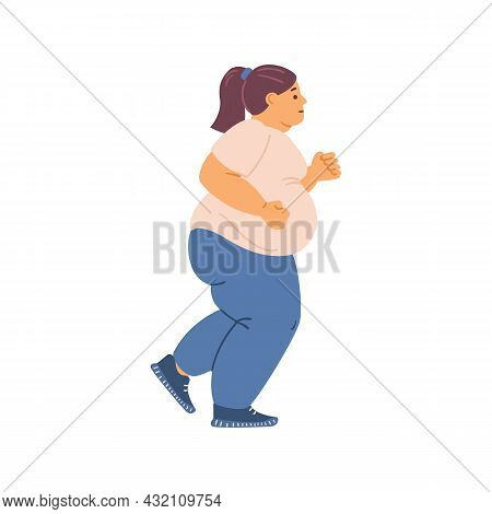 Overweight Obese Woman Running, Flat Vector Illustration On White Background.