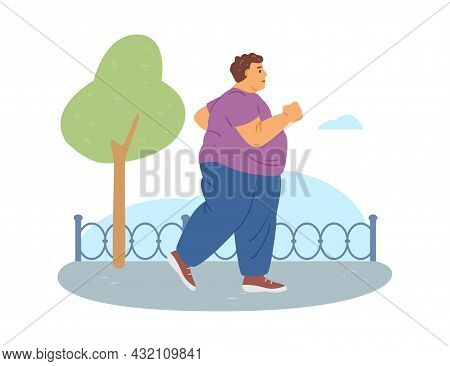 Overweight Fat Man Running Or Jogging Outdoors Flat Vector Illustration Isolated.