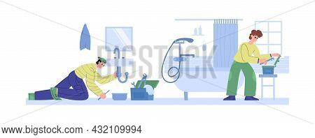 Plumbers Repair Faucets And Fix Pipes, Flat Vector Vector Illustration Isolated.
