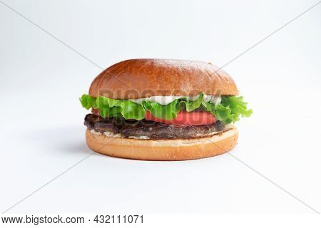 Perfect Hamburger Classic Burger American Cheeseburger With Cheese, Bacon, Tomato