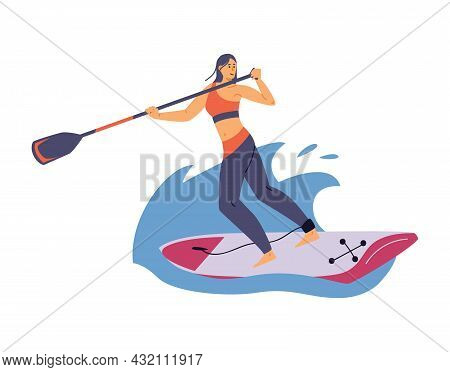 Woman Rowing Standing On Wide Paddle Board, Flat Vector Illustration Isolated.