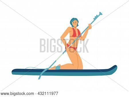 Woman Standing On Her Knees On Paddle Board, Flat Vector Illustration Isolated.