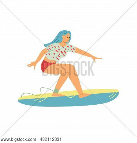 Surfing Woman Riding On Surf Board, Flat Vector Illustration Isolated.