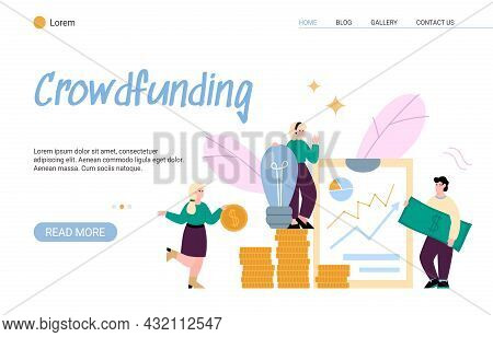 Crowdfunding And Investing In Ideas Website Mockup, Flat Vector Illustration.