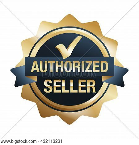 Authorized Seller Icon In Style Of Golden Medal With Check Mark. Verified Dealer Isolated Badge