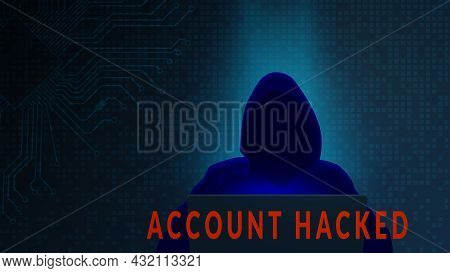 Account Hacked Concept With Silhouette Of Hacker And Computer On Dark Digital Matrix Background. Hor
