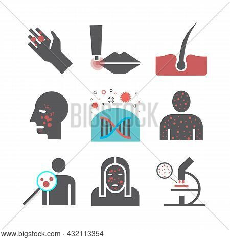 Dermatology Icons Set. Vector Signs For Web Graphics.