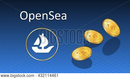 Opensea Text And Logo Internet Platform Nft Token Market And Auction With Falling Golden Coins. New