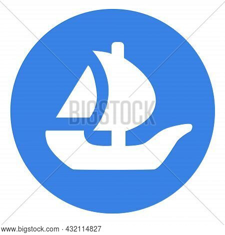 Opensea Logo Symbol In Circle Internet Platform Nft Token Market And Auction. New Trend In Collectib