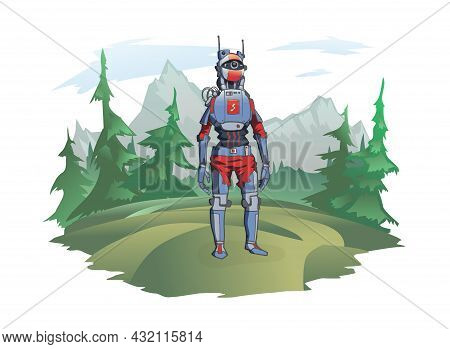 A Humanoid Robot Stands Against The Background Of A Mountain Landscape. Android In The Wild Nature,