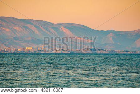 Mediterranean Seascape, Spanish Costa Blanca Coastline In The Evening Light, Alicante Coast In The D
