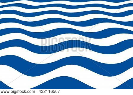 Abstract Pattern With Blue Wavy Sailor Stripes In Perspective Angle. Marine Striped Background.